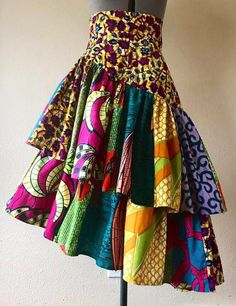 Spring Banner Colorful Mixed Print Patchwork Asymmetrical Tier Skirt in Beautiful and Exuberant African Wax Print Cotton - African fashion African Fashion Ankara, Latest African Fashion Dresses, African Print Fashion, Fashion Prints, Africa Fashion, Tribal Fashion, African Print Skirt, African Print Dresses, African Dress