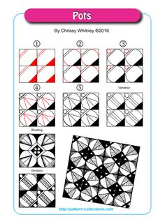 Pots Tangle, Zentangle Pattern by Chrissy Whitney Zentangle Drawings, Doodles Zentangles, Doodle Drawings, Doodle Art, Zen Doodle Patterns, Zentangle Patterns, Doodle Designs, Doodle Borders, Tangle Doodle