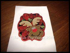 Adorable Santa's Reindeer Applique Design by SewCuteDigiDesigns