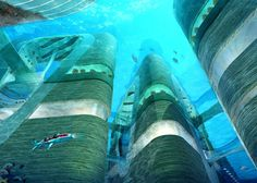 This is probably the future once the sea levels are out of control and the land ice is all melted. ;)  This amazing floating underwater city may become a reality in China