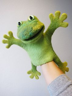 the speaking frog, wet felted hand puppet via Etsy
