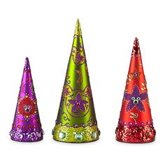 Bohemian Holiday Glass Mickey Mouse Christmas Trees Set -- 3-Pc.  i adore this bohemian holiday line