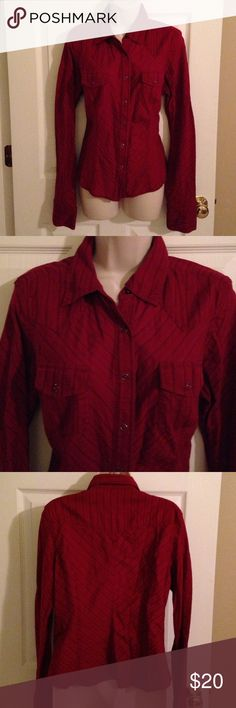 """Guess red snap front blouse, XL Guess red snap front blouse, XL chest 40"""", length from shoulders 24"""", sleeves 28"""". 100% cotton. Great condition Guess Tops Blouses"""