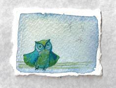 Happy Dance original watercolor owl by ElissaSueWatercolors, $15.00