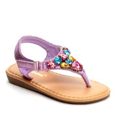 This Purple Rhinestone T-Strap Sandal by Ositos Shoes is perfect! #zulilyfinds