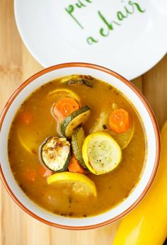 Carrot and Roasted Zucchini Soup | http://thecookiewriter.com | #soup #zucchini #chicken #healthy