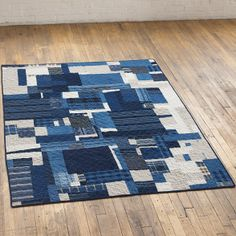 Vintage Indigo Boro Patch Diamond Quilt/ Natural Linen, 58 x 76 inches, cloth & goods