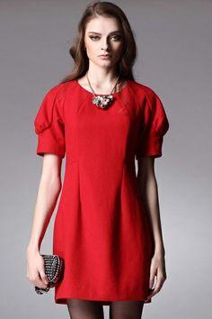 #RomwePartyDress  ROMWE | Puff Sleeves Red Dress, The Latest Street Fashion