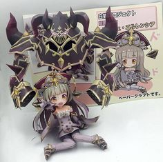 These papercraft characters originate from RPG Shironeko Project, a mobile game available in Japan.