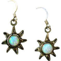 Sterling Silver Sun Burst Pierced Earrings with Flashing Faux Opal