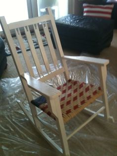 Old Rocking Chair Refurbished!  Painted by me~