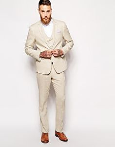Stone-hued linen suit for a spring or summer wedding