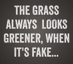 Ha the funny thing is that Doug said that to me on his part, so he's living a fake green life, good!