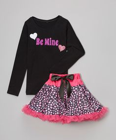 Another great find on #zulily! Black 'Be Mine' Tee & Pettiskirt - Infant, Toddler & Girls by Beary Basics #zulilyfinds