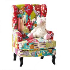 Ohrensessel patchwork  bsessel bunt, design sessel, ohrensessel patchwork ...