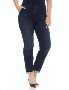 Hose Jeans verkürzt Neue Jeans    Der neue, lässige Style mit Used-Waschungen und gekrempelten Säumen verleiht dieser 7/8 Jeans den trendigen Look. Der Elasthan-Anteil sorgt für angenehmen Tragekomfort. Fußweite ca. 34 cm, Schrittlänge ca. 74 cm    Material: Dunkelblau Denim: Oberstoff: 71% Baumwolle, 16% Polyacryl, 10% Lyocell, 2% Polyester, 1% Elastan...