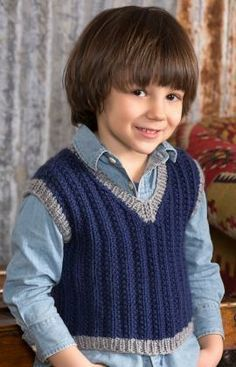 Boy's Seeded Rib Vest Free Knitting Pattern from Red Heart Yarns