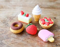 6 x Food Erasers Food Rubber Iwako Eraser Japanese Desert Pudding Cake Novelty Party Bag Gift Stocking Fillers Puzzle Stationery Japanese Deserts, Eraser Collection, Cool Erasers, Cute Stationary, Cute School Supplies, Tiny Food, Cute Clay, Pudding Cake, Quilling Designs