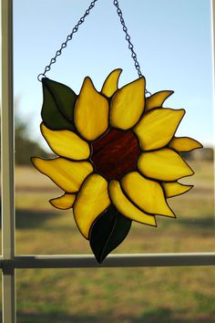 Stained Glass Sunflower by LedByGlass on Etsy