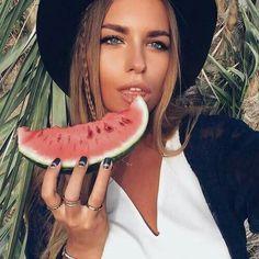 Stylish pic and watermelon Watermelon, Banana, Fruit, Stylish, Hair, Beautiful, Locks, Awesome, Girls