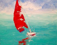 Small Seascape Painting Canvas Oil Painting Original Boat Painting Modern Painting Miniature Painting Ocean Sailboat Painting Impressionism