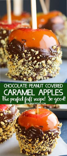 Chocolate Peanut Covered Caramel Apples with the best homemade caramel, chocolate & peanuts makes these the best fall dessert around. YUM caramel lovers.