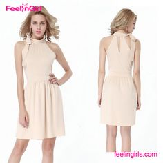 Wholesale Nude High Neck Sleeveless Cheap Chinese Clothes Women Dress Party