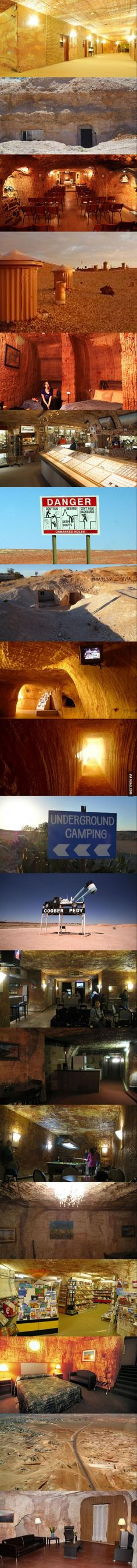 """Australians have built the underground town of """"Coober Pedy"""" in northern South Australia to escape extreme heat. The area is famous for its opal mining. Some of the most spectacular opals in the world come from here. South Australia, Australia Travel, Australia 2018, Visit Australia, Land Of Oz, Rock Pools, Famous Places, Adventure Travel, New Zealand"""