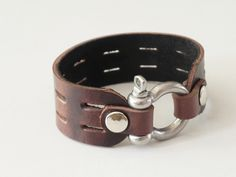 Brown Leather Cuff Bracelet with Stainless closure.