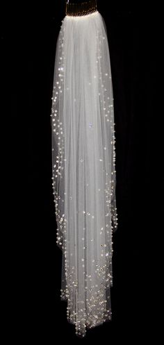 Bridal Veil with Crystal Edge and Scattered Crystals by pureblooms, $195.00