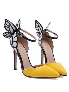Yellow 3D Butterfly Ankle Strap Heels | Choies