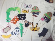 Jungle themed first birthday photo booth props