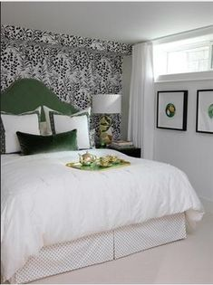 Love everything Sarah Richardson does! Great guest room (remember this one from… Love everything Sarah Richardson does! Great guest room (remember this one from Sarah's House! Bedroom Headboard, Home Bedroom, Bedroom Design, Green Headboard, Basement Window Treatments, Beautiful Bedrooms, Window Treatments Bedroom, Basement Guest Rooms, Very Small Bedroom