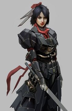 Pin by Marco polo on ♢◾Cool Armor◾ ♢ Cyberpunk character armored futuristic jumpsuit woman - Woman Jumpsuits Ronin Samurai, Female Samurai, Female Knight, Female Ninja, Character Design Challenge, Character Design Inspiration, Dragon Age, Character Concept, Character Art
