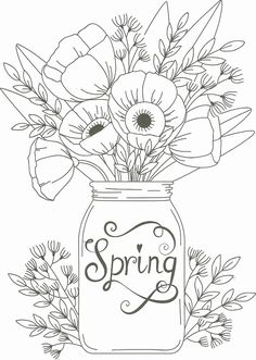Adult Coloring Pages - Spring Flower Coloring Pages Best Of Spring Mason Jar Floral Coloring Page Spring Coloring Pages, Easter Coloring Pages, Free Adult Coloring Pages, Cute Coloring Pages, Disney Coloring Pages, Mandala Coloring Pages, Animal Coloring Pages, Coloring Pages For Grown Ups, Tumblr Coloring Pages