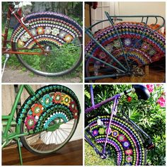 Dutch Bicycle, Bicycle Decor, Biker Chick, Crochet Flowers, Creative Inspiration, Reuse, Recycling, Diy Crafts, Outdoor Stuff
