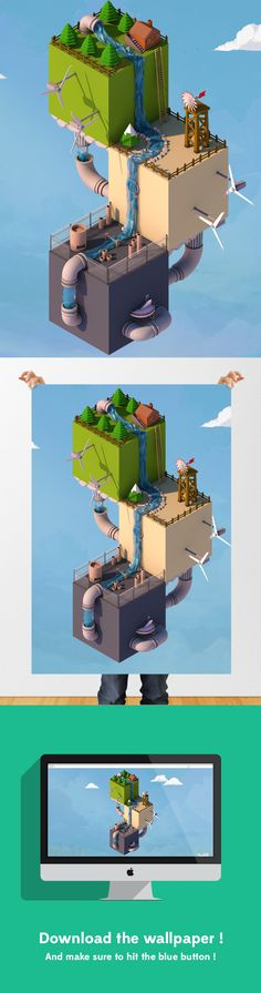Low poly world - Isometric by Keira Ramsey, via Behance