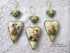 """Купить Интерьерная подвеска сердечки """"Кантри"""" - сердце подвеска, сердце тильда, сердце в подарок"""