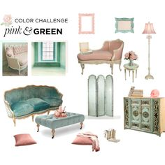 Color Challenge: Pink and Green by sarah-who on Polyvore featuring interior, interiors, interior design, home, home decor, interior decorating, Serena & Lily, Arteriors, AERIN and pinkandgreen