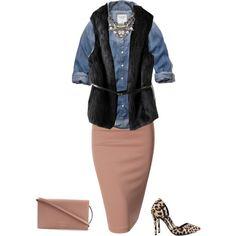 """Denim shirt and pencil skirt"" by lenaick on Polyvore"