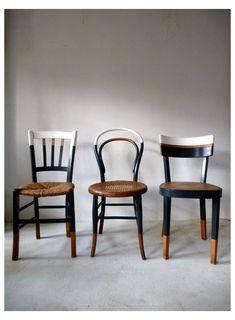 Set of 6 vintage mismatched vintage chairs / Cook Ensemble de 6 chaises anciennes dépareillées vintage / Cuisine / bistrot reloo… Set of 6 old mismatched vintage chairs / Kitchen / reloo bistro … - Refurbished Furniture, Upcycled Furniture, Furniture Projects, Furniture Makeover, Vintage Furniture, Painted Furniture, Home Furniture, Furniture Design, Kitchen Chair Makeover