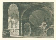 Fabrizio Galliari | Interieur van een groot antiek gebouw met tongewelven en een koepelsubstructie, Fabrizio Galliari, Lorenzo Sacchetti, 1730 - 1778 |