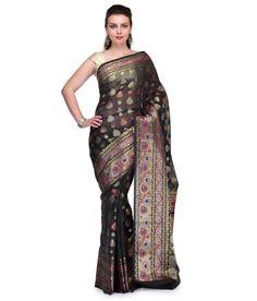 Loved it: Bunkar Black Silk Saree, http://www.snapdeal.com/product/bunkar-black-silk-banarasi-saree/646081761974