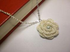 Ivory Necklace   Flower Crochet Jewelry  Blossom by MetsyMade @kristen