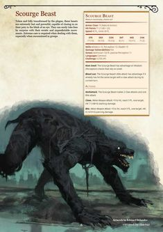 Bloodborne Monster Manual by DM Tuz - Imgur Dungeons And Dragons Races, Dnd Dragons, Dungeons And Dragons Homebrew, Mythical Creatures Art, Mythological Creatures, Fantasy Creatures, Bloodborne Concept Art, Dnd Stats, Dungeon Master's Guide