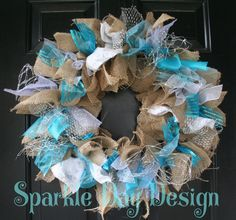 Christmas Wreath Blue and Silver Wreath Front Door Decoration Burlap Christmas Wreath Frozen Christmas Decorations Snowflake Wreath Winter