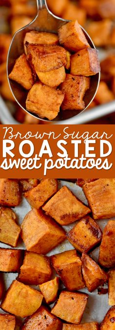 These Brown Sugar Roasted Sweet Potatoes are roasted with brown sugar, cinnamon, butter, and a little cayenne for a kick. They are the perfect side dish recipe. Easy to throw together and delicious! (healthy meals for dinner brown sugar) Brown Sugar Sweet Potatoes, Sweet Potato Cinnamon, Cinnamon Butter, Recipes For Sweet Potatoes, Baked Sweet Potato Oven, Oven Roasted Sweet Potatoes, Cinnamon Recipes, Butternut Squash And Sweet Potato Recipe, Roasted Sweet Potato Cubes