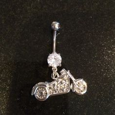 Motorcycle belly button ring Shiny, pretty, unique- never used Jewelry Rings