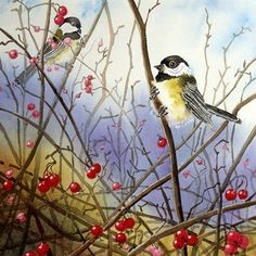 Chickadee Bird Painting A Giclee Print of my Watercolor - Stormy Landscape… Watercolor Bird, Watercolor Paintings, Painting & Drawing, Watercolors, Bird Wall Art, Art And Illustration, Beautiful Birds, Love Art, Amazing Art