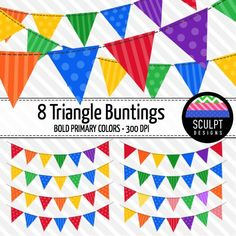 Bunting clip art in bold primary colors!